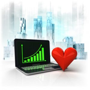 love heart with positive online results in business district